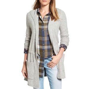 Caslon NWT Hooded Tunic Cardigan Sweater Gray
